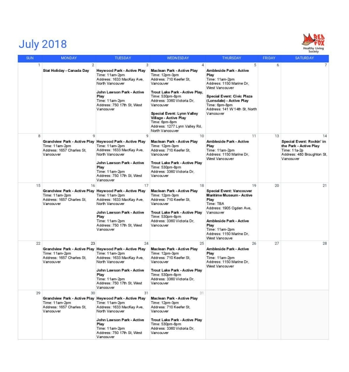 Public Program Calendar - July 2018